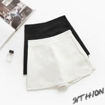 Casual pants White, black S,M,L,XL,2XL Summer of 2018 shorts Wide leg pants High waist commute Thin money 71% (inclusive) - 80% (inclusive) polyester fiber Korean version zipper