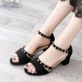 Sandals three billion five hundred and thirty-six million three hundred and seventy-three thousand eight hundred and thirty-nine BEIGE BLACK Butterflies in Jiangnan cloth Barefoot Thick heel High heel (5-8cm) Summer of 2018 Flat buckle Korean version Solid color Adhesive shoes Youth (18-40 years old)