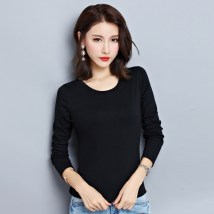 T-shirt White pink rose red orange ginger purple blue black MLXLXXL Spring of 2018 Long sleeves Crew neck Self cultivation Regular routine commute 18-24 years old Korean version other Solid color Sen. Qingyu 2061new Cotton 65% polyester 30% polyurethane elastic fiber (spandex) 5%