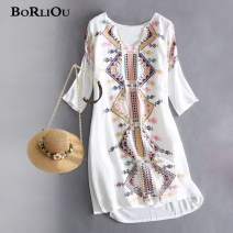 Dress Fall 2017 white XS,S,M,L,XL,2XL,3XL Short skirt singleton  three quarter sleeve Sweet V-neck Loose waist Abstract pattern Socket A-line skirt pagoda sleeve Others 25-29 years old Type H BORLIOU Embroidery, stitching WG116 81% (inclusive) - 90% (inclusive) Crepe de Chine cotton Bohemia