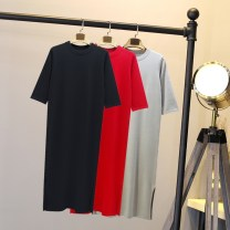 Dress Spring of 2018 Black red grey Average size Mid length dress singleton  three quarter sleeve commute Crew neck middle-waisted Solid color Socket other routine Others 18-24 years old Type H Qifeijie Korean version Side split 31% (inclusive) - 50% (inclusive) knitting nylon