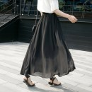 skirt Summer 2017 S,M,L,XL,2XL black longuette commute Natural waist A-line skirt Solid color Type A Chiffon polyester fiber Lotus leaf edge Korean version