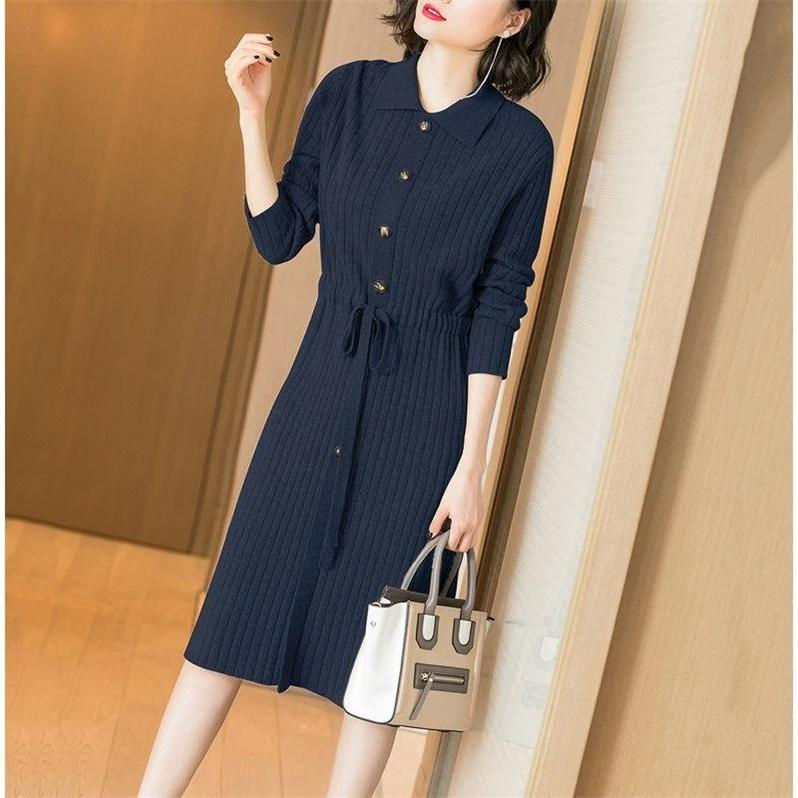 Dress Winter of 2019 Lake blue, navy blue, black, apricot, rice camel, brick red 3XL,2XL,M,XL,L,S longuette Long sleeves commute Doll Collar Loose waist A-line skirt routine Others Type A Other / other Ol style Pleating - lace up knitting