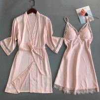 Pajamas / housewear set female Other / other M,L,XL,XXL White, red, black, champagne, pink Polyester (polyester) Short sleeve sexy pajamas summer Thin money V-neck Solid color youth 2 pieces 81% (inclusive) - 95% (inclusive) silk Hollowing out 200g and below Middle-skirt