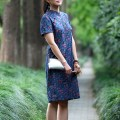 Dress Summer 2017 Decor S,M,L Middle-skirt singleton  Short sleeve commute stand collar Decor routine literature Chinese style modified cheongsam with slant flap More than 95% cotton