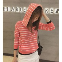 Sweater / sweater Autumn 2016 Pink, black, gray M, L Long sleeves routine Socket singleton  routine Hood Self cultivation Sweet stripe cotton college