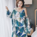 Pajamas / housewear set female Other / other L,XL,XXL viscose  Long sleeves Sweet pajamas spring Thin money V-neck Plants and flowers trousers Socket youth 3 pieces rubber string poplin  printing