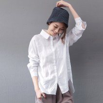 shirt S,M,L Autumn of 2019 hemp 96% and above Long sleeves commute Regular Polo collar Single row multi button raglan sleeve Solid color Straight cylinder Keran products Simplicity