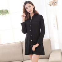 Pajamas / housewear set female Love snow princess S,XL,XXL,M,L Light grey, black, pink Polyester (polyester) Long sleeves sexy Leisure home spring routine stand collar Solid color Front buckle youth More than 95% silk 200g and below