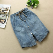 skirt Spring 2020 L,M,S,2XL,XL wathet Middle-skirt Versatile High waist Denim skirt Solid color Type H 18-24 years old Denim cotton