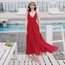 Dress Winter 2017 Red yz17a159 S M L longuette singleton  Sleeveless Sweet V-neck High waist Solid color Socket Big swing other Others 25-29 years old Type A Taro real Open back lace YZ17A159 More than 95% Chiffon polyester fiber Polyester 100% Bohemia Pure e-commerce (online only)