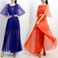 Dress Autumn 2015 Sapphire blue, watermelon red 155/80A,160/84A,165/88A longuette singleton  elbow sleeve Sweet Crew neck High waist Solid color Socket Big swing Flying sleeve Others Type X Plain cloth clothes Ruffles, ruffles, folds, pockets, stitching, asymmetry, wave, swallow tail More than 95%