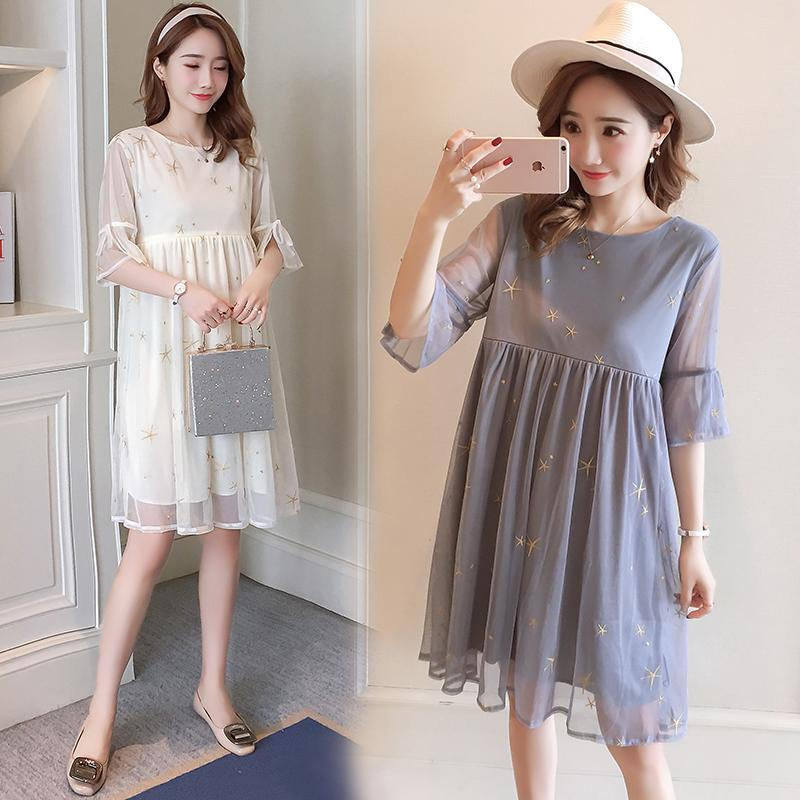 Dress Other / other Light grey, dark blue, grey, apricot, hemp grey XL,M,XXL,L Korean version Short sleeve Medium length summer Crew neck Solid color Chiffon