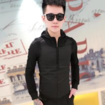 Sweater Youth fashion Others White, black M. L, XL, 2XL, 3XL, 4XL, 5XL, 6xl sizes are one to two sizes smaller Solid color Socket routine Hood autumn Slim fit leisure time teenagers tide routine washing zipper