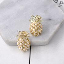 2018 summer Holiday style personality originality zircon Pearl pineapple Earrings female temperament fashion Retro Ear Studs Earrings