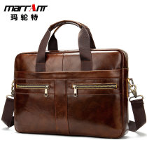 Cross border business affairs 【 man briefcase 】 genuine leather Men's bag Official bag 14 inches Computer package man portable The single shoulder bag
