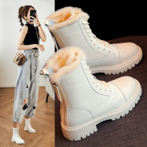 Middle cylinder Martin boots Women's Shoes 2020 new pattern Autumn and winter shoes Versatile Plush cotton-padded shoes winter Snow boots