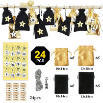 goods in stock christmas Gift bag Gold and silver cloth Cotton bag 24 individual number Stickers come day count down cornucopia suit