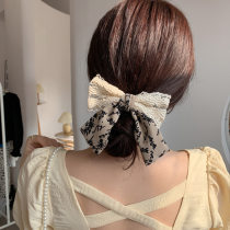 Korean version new pattern Lace bow Hairpin female Back of head Clip Headwear Internet celebrity ins Hairpin Top clamp Hair accessories