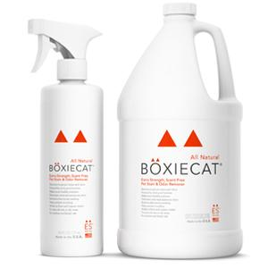 Boxiecat Stain & Odor Removers Extra Strength formula, 24 oz and 128 oz bottles