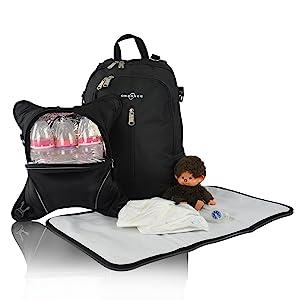 diaper backpack, diaper bag, changing mat, mommy bag, changing bag