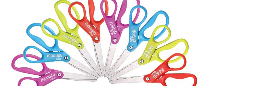 blue scissor, red scissor, green scissor, pink scissor, rainbow scissors, Stanley kids scissors