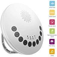 White Noise Machine, Sound Machine Baby for Sleeping & Portable for Travel, 6 High Fidelity Nature Sounds for Kids, Auto-Off Timer Battery or USB Output Charger (White)
