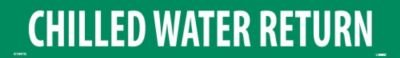 """NMC A1047G Pipe Marker, Legend""""Chilled Water Return"""", 14"""" Length x 2"""" Height, 1-1/4"""" Letter Size, Pressure Sensitive Vinyl, White on Green (Pack of 25)"""