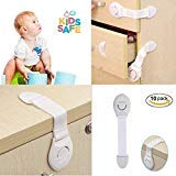 Child Safety Cabinet Locks   Baby Proof Cabinets Drawers, Appliances, Toilet Seat, Fridge and Oven   Tools Not Required   Uses 3M Adhesive with Adjustable Strap and Latch System (8 Pack White) by ME