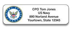 Navy Designer Rolled Address Labels with Elegant Plastic Dispenser