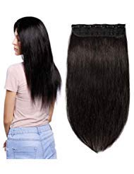 S-noilite 16inch 80g Clip in Real Human Hair Extensions 100% Remy Hair One Piece 5 Clips 3/4 Full Head Straight Invisible Thick Clip on Extensions for Women Gifts #1B Natural Black