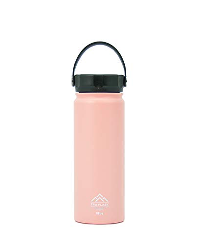 TRU FLASK Stainless Steel Water Bottle – Double Walled and Wide Mouth – Vacuum Insulated - Interchangeable Lids (Sold Separately) – Eco Friendly, BPA Free - 18 OZ