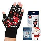 Doctor Developed Festive/Christmas Themed Compression Arthritis Gloves - Doctor Written Handbook Included: Relieve Arthritis Symptoms, Raynauds Disease & Carpal Tunnel (Medium)