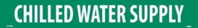 """NMC A1048G Pipe Marker, Legend""""Chilled Water Supply"""", 14"""" Length x 2"""" Height, 1-1/4"""" Letter Size, Pressure Sensitive Vinyl, White on Green (Pack of 25)"""