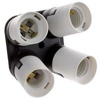 Amariver Flashpoint 4 Socket Adapter 4 in 1 Socket Adapter Holder Converter, Standard Light Bulbs Lamp Socket Splitter for Photo Studio Lighting, Work Shop, Garage Lighting and Others