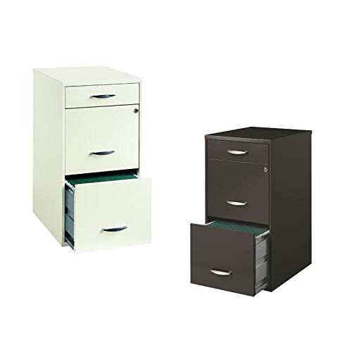 Value Pack (Set of 2) 3 Drawer File Cabinet in Charcoal and White