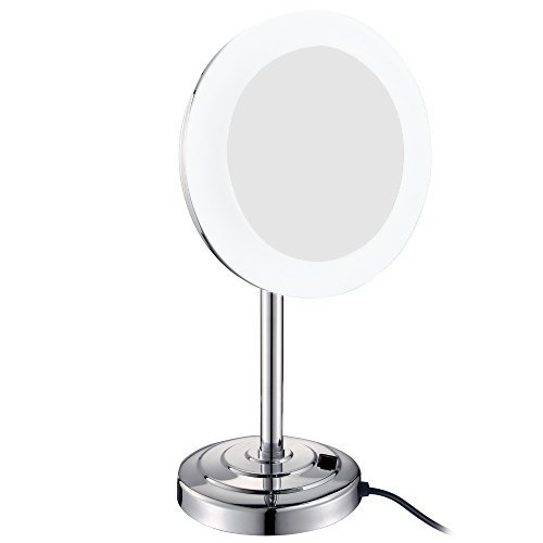GURUN 8-Inch LED-Lighted Tabletop Vanity Mirror with 7X Magnification,Chrome Finish M2238D(8in,7X)