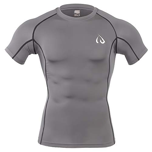 ARMEDES IDoneX Short Sleeved T-Shirt Cool Dry Compression Baselayer (1031 Grey, XX-Large)