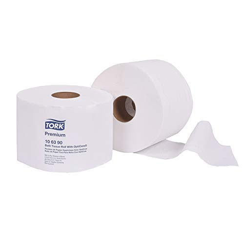 """Tork 106390 Premium Bath Tissue Roll with OptiCore, 2-Ply, 3.75"""" Width x 4.0"""" Length, White (Case of 36 Rolls, 800 Sheets per Roll, 28,800 Sheets per Case)"""