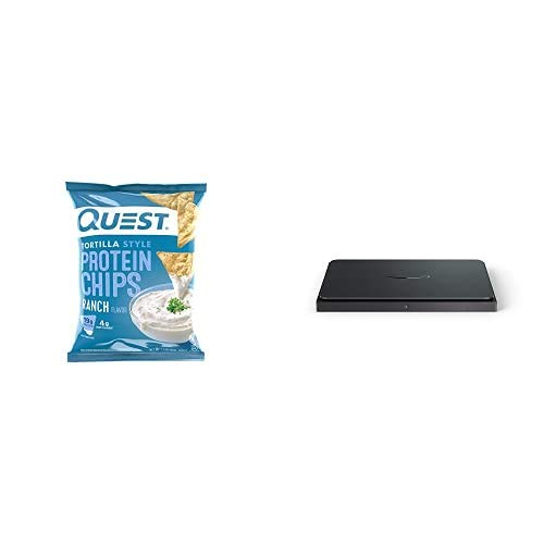 """Quest Nutrition Tortilla Style Protein Chips, Ranch, Baked, 1.1 Ounce (Pack of 12) + Amazon Dash Smart Shelf (Medium - 12"""" X 10"""")"""