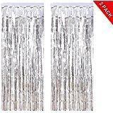 ANREONER 2 Pack Shiny Photo Backdrop, 3.2 ft x 9.8 ft Metallic Tinsel Foil Fringe Curtain Background for Birthday Party Prom Wedding Decoration, Best Party Supplies & Accessories-Silver