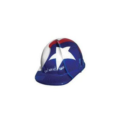 Fibre-Metal by Honeywell SuperEight Thermoplastic Cap-Style Hard Hat with 8-Point Ratchet Suspension, Texas Flag Full Graphic
