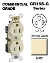 Leviton CR15S-GI 15-Amp, 125-Volt, Narrow Body Duplex Receptacle, Straight Blade, Commercial Grade, Self Grounding, Tamper Resistant, Ivory