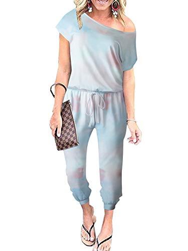 ANRABESS Women's Jumpsuits Tie Dye Crewneck One Off Shoulder Short Sleeve Elastic Waist Romper 203danlanfen-XL