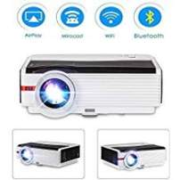 WiFi Projector, Upgrade 5000 Lux Support Full HD 1080P Wireless Bluetooth Video Airplay Projector with Zoom Function, Compatible with Smartphone, TV Stick, PS4, Laptop, HDMI, USB for Home Theater