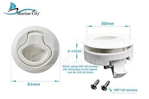 """MARINE CITY 2-2/5"""" Nylon White Round Hatch Flush Pull Stem Latch"""