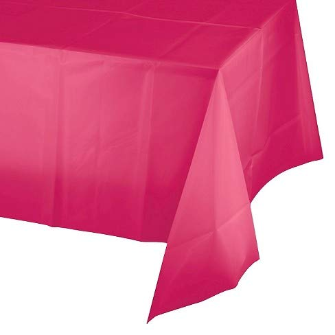 Mountclear 12-Pack Disposable Plastic Tablecloths 54 x 108 Inch Size Table Cloth Inch Size Table Cloth (HOT Pink)