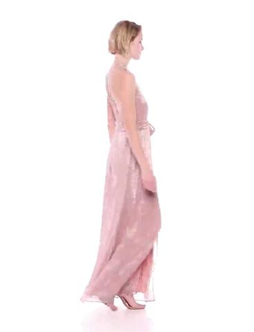 HALSTON Women's Sleeveless High-Neck Metallic Knit Gown