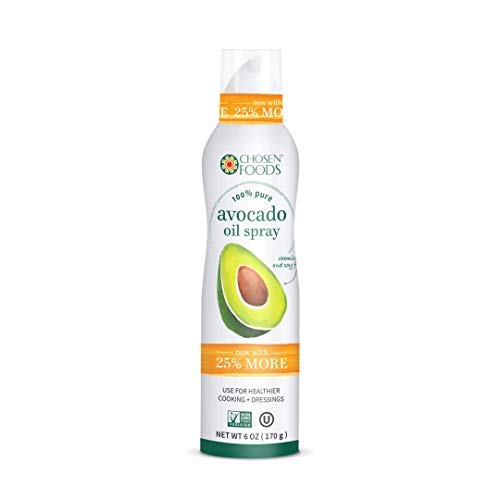 Chosen Foods 100% Pure Avocado Oil Spray 6 oz. (4 Pack), Non-GMO, 500°F Smoke Point, Propellant-Free, Air Pressure Only for High-Heat Cooking, Baking and Frying