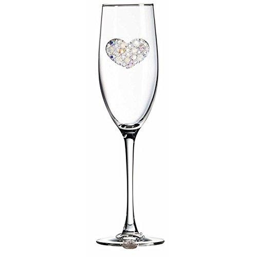 THE QUEENS' JEWELS Multi Stone Heart Jewled Champagne Flute - Unique Gift for Women, Birthday, Cute, Fun, Not Painted, Decorated, Bling, Bedazzled, Rhinestone